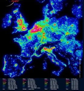 carte de pollution lumineuse en Europe